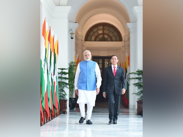 Prime Minister Narendra Modi with Myanmar President U Win Myint at the Hyderabad House in New Delhi on Thursday. Photo/ANI
