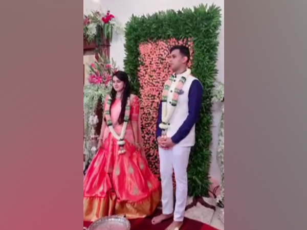 KPCC president DK Shivakumar's daughter engaged to VG Siddhartha's son in Bengaluru on Monday (Photo/ANI)