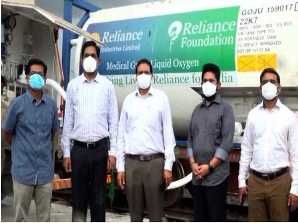 An Oxygen express train from Jamnagar in Gujarat arrived at the Guntur railway station. (Photo/ANI)