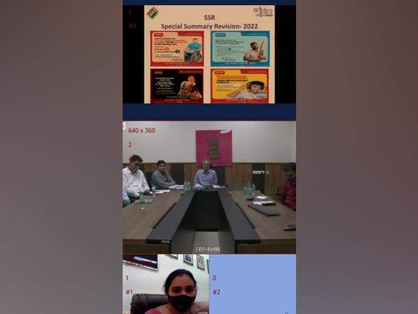 Delhi Chief Electoral Officer Dr Ranbir Singh interacts with college principals.