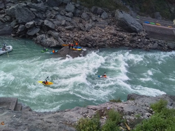Athletes participating in the Ganga Kayak festival in Uttarakhand. Photo/ANI
