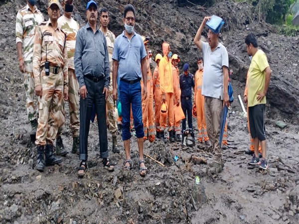 Search operation of State Disaster Response Force continues in the landslide incident in Tanga village, Uttarakhand. (Photo/ANI)