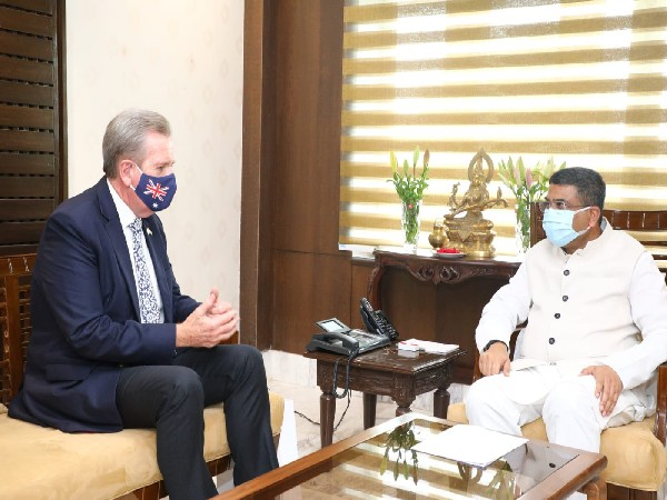 Union Minister Dharmendra Pradhan with Australian High Commissioner Barry O'Farrell. (Photo/@dpradhanbjp)