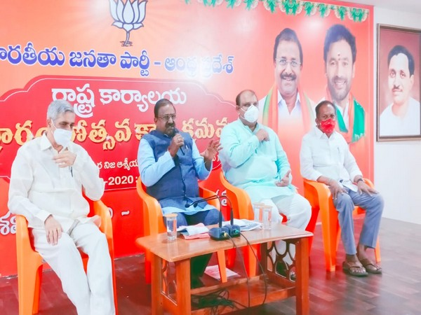BJP Andhra Pradesh unit president Somu Veerraju addressing a press conference on Monday. (Photo/ANI)