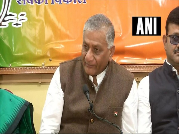 Union Minister VK Singh speaking to reporters in Ranchi on Tuesday.