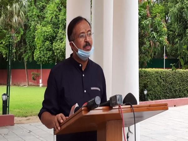 Minister of State for External Affairs V Muraleedharan speaking in New Delhi on Wednesday. Photo/ANI