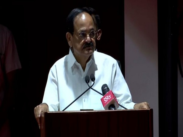 Vice President M Venkaiah Naidu speaking at an event in Chandigarh on Wednesday. Photo/ANI