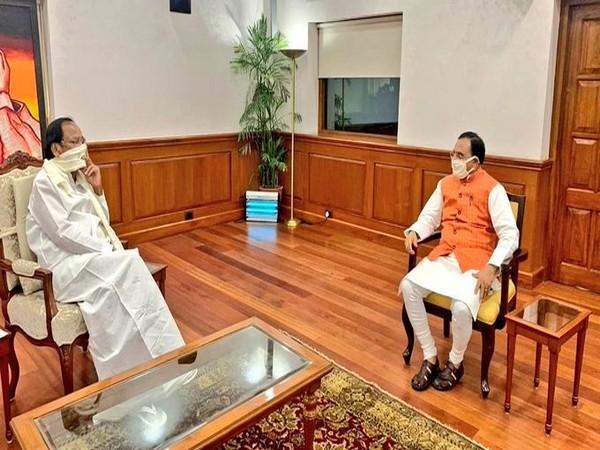 Vice President M Venkaiah Naidu having a discussion with Union HRD Minister Ramesh Pokhriyal 'Nishank' in New Delhi on Tuesday. (Twitter/@VPSecretariat)