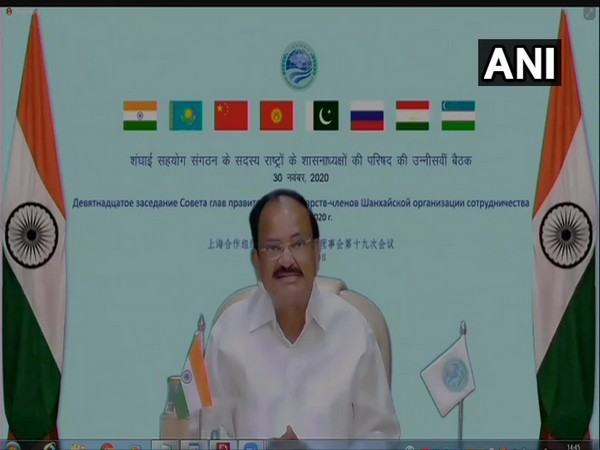 Vice President Venkaiah Naidu addressing the 19th meeting of SCO Council of Heads of Government through video conferencing on Monday.