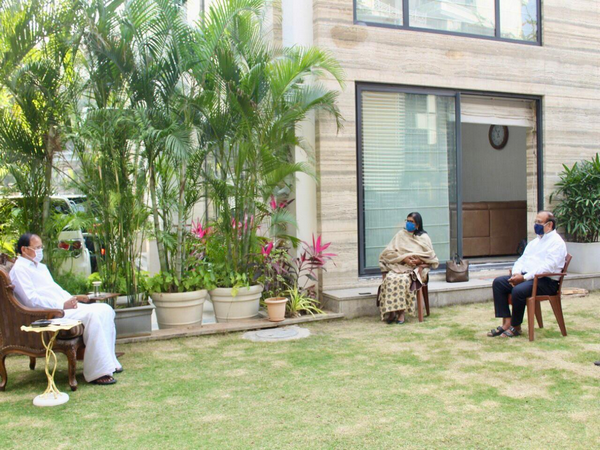 Vice President, M Venkaiah Naidu holds a meeting at his residence in Hyderabad (Photo: Twitter)