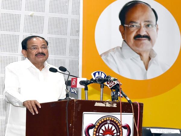 Vice President M Venkaiah Naidu speaking at an event in Vishakhapatnam, Andhra Pradesh, on Sunday. (Photo courtesy: PIB)
