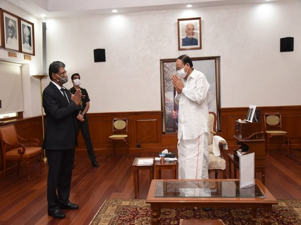 sh K. Reddy, India's Ambassador-designate to Brazil called on the Vice President (Photo tweeted from Twitter account of Vice President)