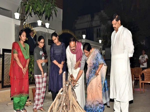 Vice President M Venkaiah Naidu and his family members celebrating Bhogi in Chennai on Tuesday. (Photo Source: Vice President of India Twitter)