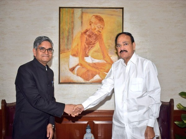 Vice President M Venkaiah Naidu meets Upenedr Singh Rawat, India's Ambassador designate to Panama in New Delhi on Wednesday. (Photo credit: Vice President of India Twitter handle)