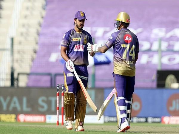 Nitish Rana and Sunil Narine in action against Delhi Capitals (Photo/ iplt20.com)