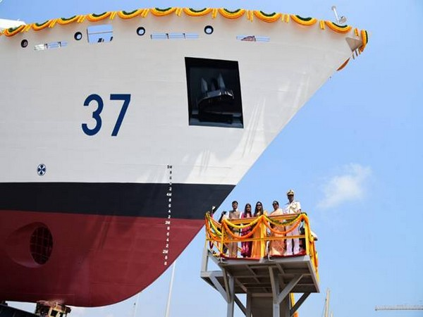Minister of State for Shipping (Independent Charge) during the launch ceremony of 6th Coast Guard Offshore Patrol Vessel (OPV-6) 'VAJRA' in Chennai on Thursday. Photo/ANI