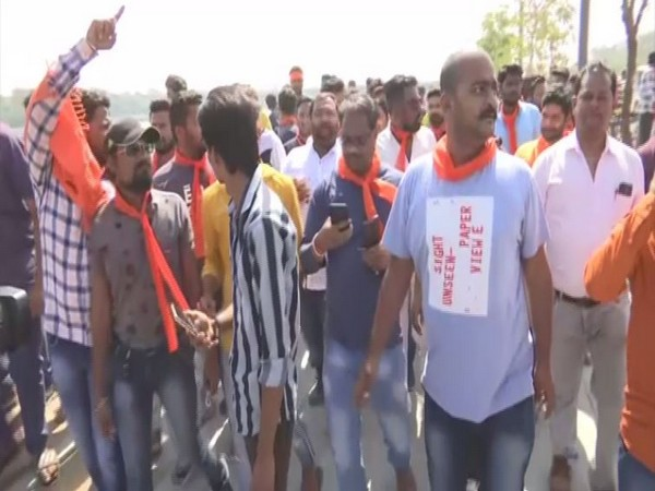 VHP protesting against Valentine's Day on Friday in Ahmedabad. Photo/ANI