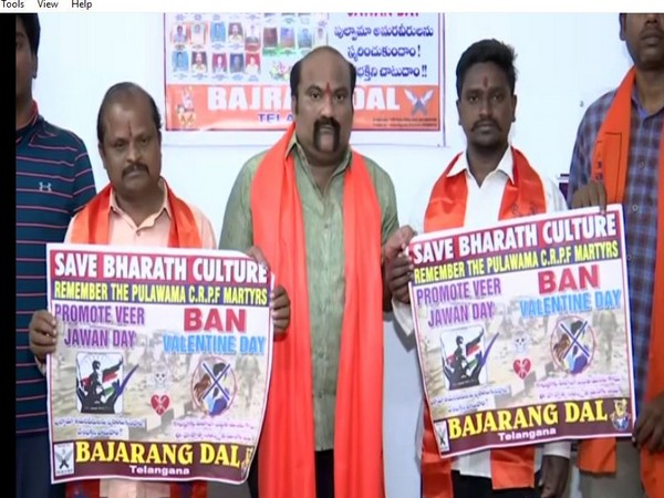 Hyderabad unit of Bajrang Dal asks people to not celebrate Valentine's Day. Photo/ANI