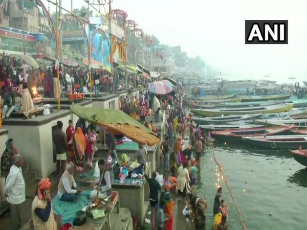 Devotees took a holy dip in river Ganga on Maghi Purnima on Sunday morning at Varanasi