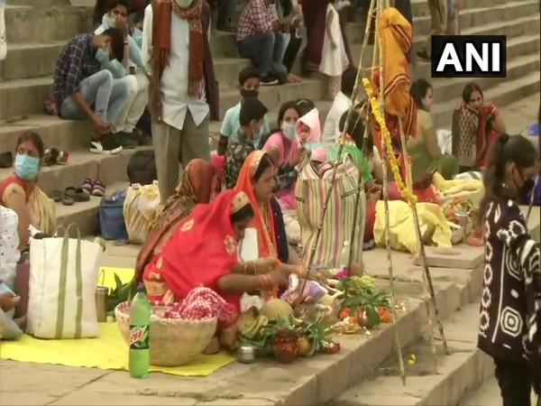 Devotees celebrate Chhath Puja at Assi Ghat (Photo ANI)