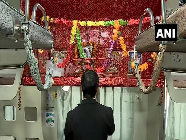 Visual of the temple in coach B5 of the Kashi-Mahakal Express. Photo/ANI