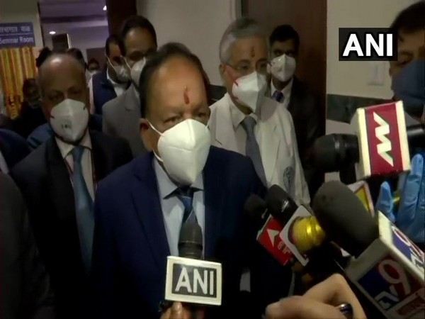 Union Minister Dr Harsh speaking to reporters in New Delhi on Monday. Photo/ANI