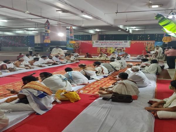 Visuals from the Veda Sabha organised in Kanaka Durga temple on Saturday. Photo/ANI