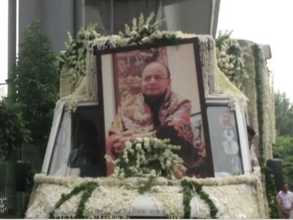 Mortal remains of senior BJP leaders Arun Jaitley brought to BJP headquarters on Sunday. (Photo/ANI)