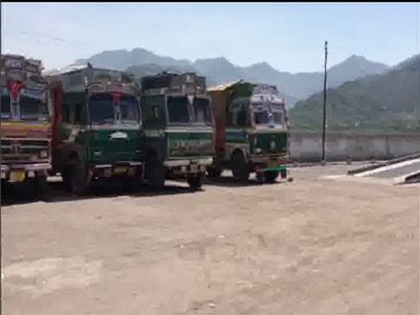 Trucks parked at Cross LOC trade center on Tuesday