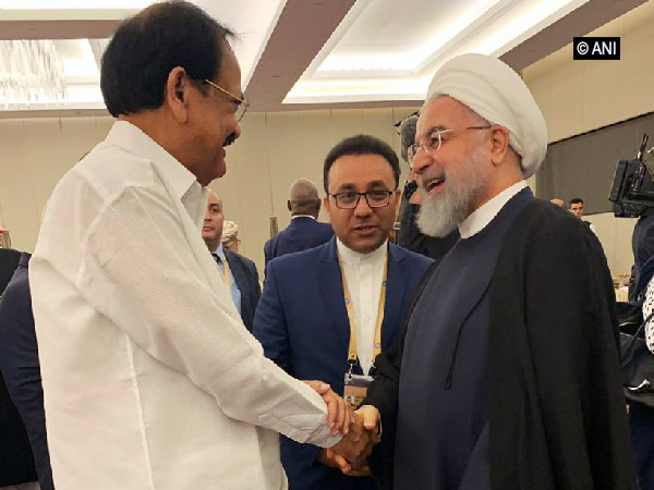 Vice-President Venkaiah Naidu in conversation with Iranian President Hassan Rouhani (File photo/ANI)