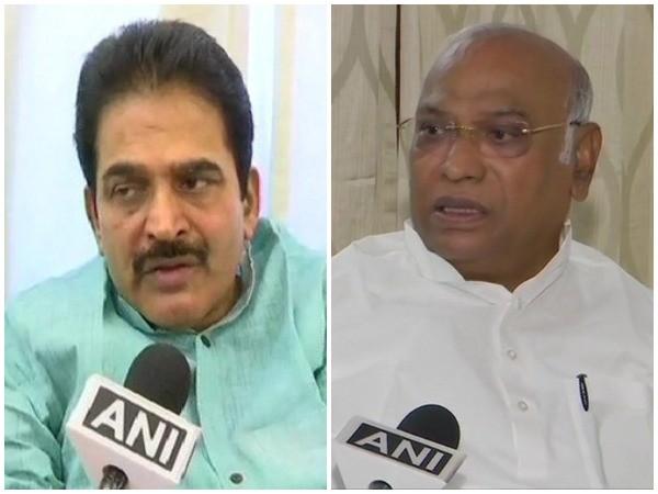 Congress leaders KC Venugopal and Mallikarjun Kharge