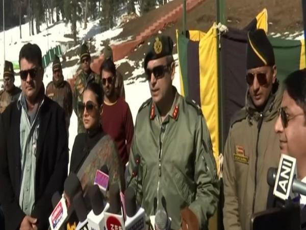 GoC 19 Infantry Division of Kashmir, Major General Virendra Vats addresses the media (Photo/ANI)