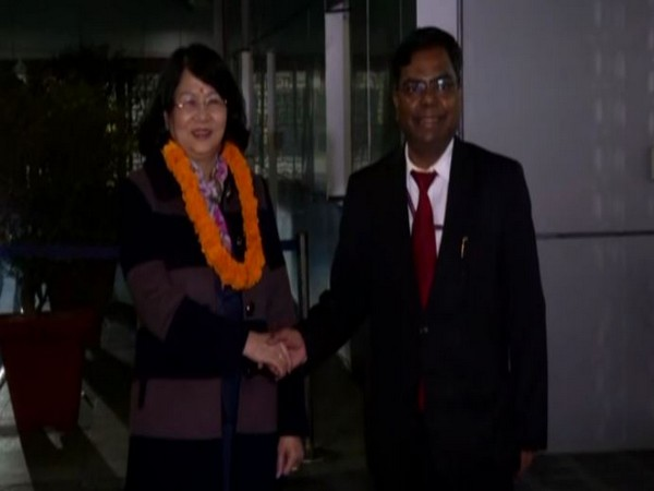Vice President of Vietnam, Dang Thi Ngoc Thinh arrived in India on her three day visit. Photo/ANI