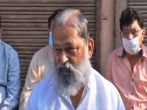 Haryana Home Minister Anil Vij speaking to reporters on Wednesday. Photo/ANI