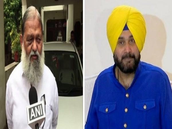 BJP leader Anil Vij (left) and Congress leader Navjot Singh Sidhu (right)