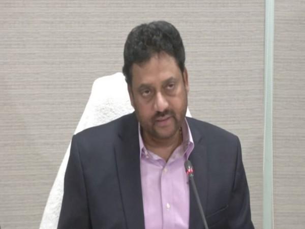 Andhra Pradesh Planning Department Secretary, Vijay Kumar speaking at a press conference in Vijayawada. Photo/ANI