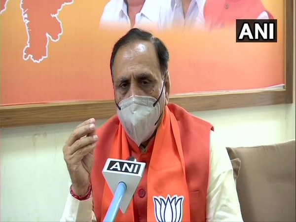 Gujarat CM Vijay Rupani speaking to ANI in Gandhinagar on Tuesday. Photo/ANI