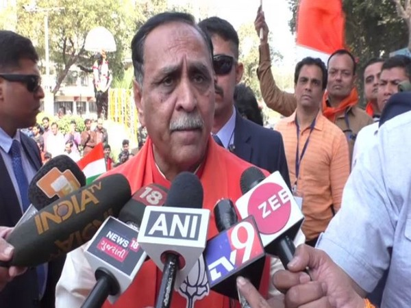 Gujarat Chief Minister Vijay Rupani talking to reporters here on Saturday at a pro-CAA rally.