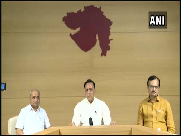 Gujarat Chief Minister Vijay Rupani addressing a press conference on Tuesday. Photo/ANI