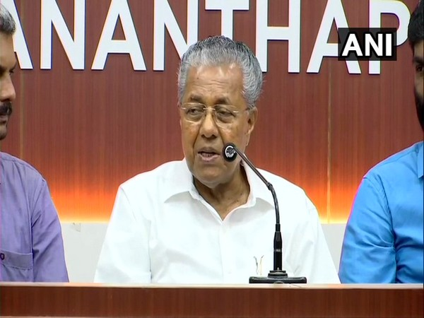 Kerala Chief Minister P Vijayan addresing a press conference in Kerala on Sunday. Photo/ANI
