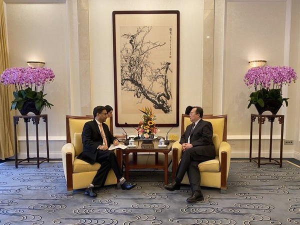 Indian Ambassador to China Vikram Misri and Liu Jianchao, a senior official of the Chinese Communist Party. (Photo source: Indian embassy in Beijing Twitter)