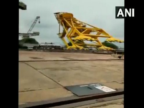 Visuals from Visakhapatnam crane collapse incident on Saturday. (Photo/ANI)