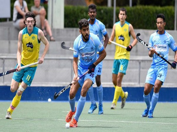 India colts midfielder Vishal Antil in front (Photo/Hockey India Twitter)