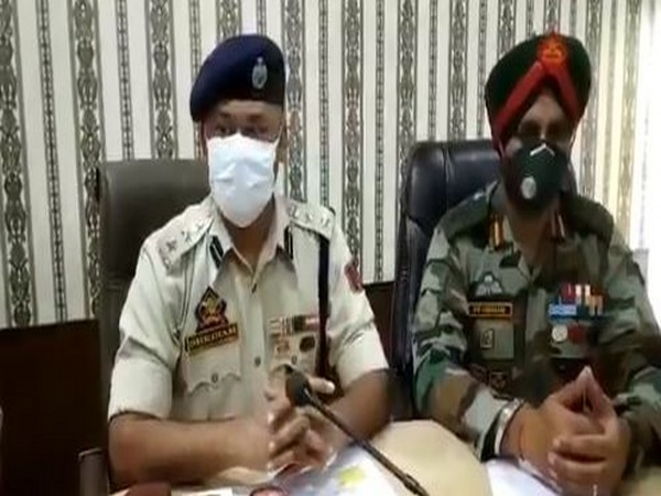 Visuals from the joint press conference by Army and Jammu and Kashmir officials on Sunday. Photo/ANI