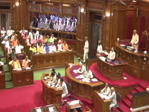 A view of the Vidhan Sabha session in progress in Lucknow on Wednesday. Photo/ANI