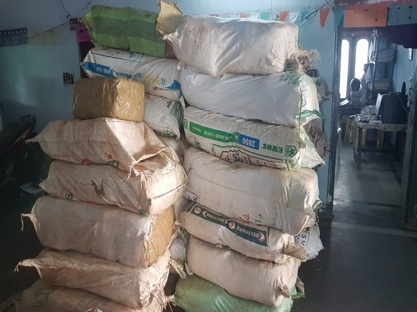 Around 1800 kg cannabis seized by the Excise and Prohibition department in Visakhapatnam on Tuesday. (Photo/ANI)