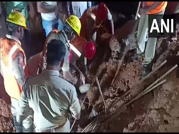 Visual from the site of wall-collapse in Visakhapatnam. Photo/ANI