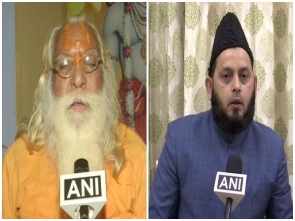 Satyendra Das, head priest of the makeshift Ram temple, Ayodhya (L), Khalid Rasheed AIMPLB (R), talking to ANI on Saturday. Photo/ANI