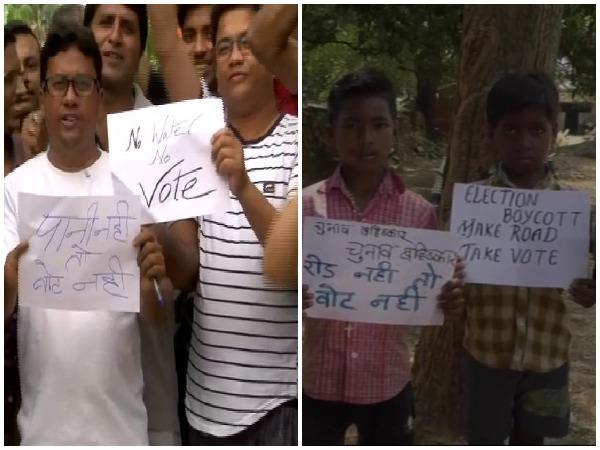 Visuals of people boycotting Lok Sabha polls.