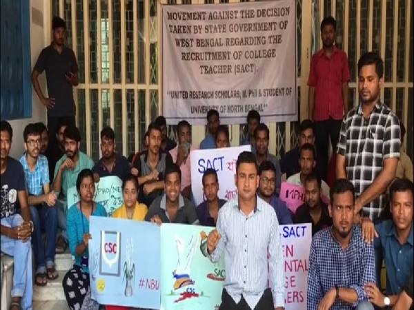 North Bengal University students continue protest against regularising guest teachers. Photo/ANI